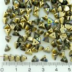 Half Pinch Large Czech Beads - Crystal Golden Rainbow Half - 7mm