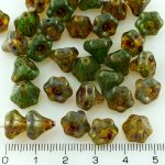 Bell Flower Caps Czech Beads - Picasso Emerald Green - 9mm