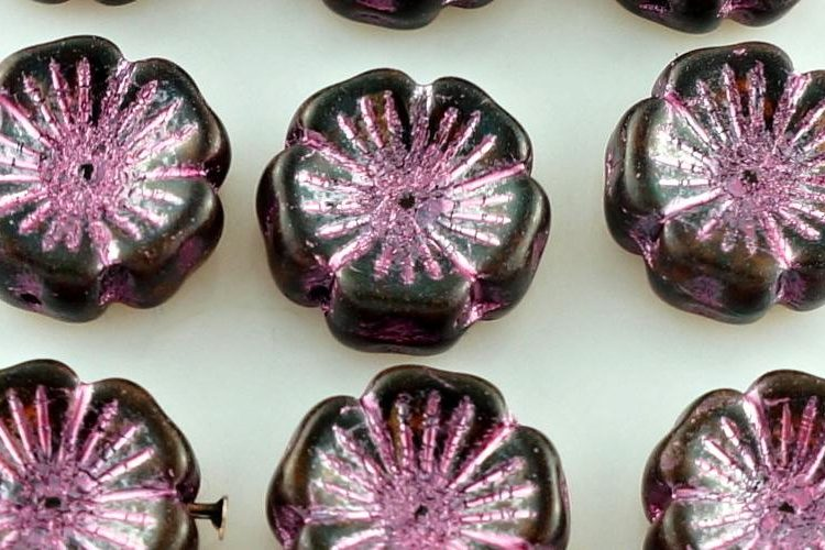 Flower Flat Czech Glass Beads