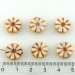 Flower Coin Table Cut Flat Czech Beads - White Picasso - 12mm