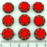 Flower Coin Window Table Cut Flat Czech Beads - Opaque Red Brown Rustic Picasso - 14mm