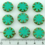 Flower Coin Window Table Cut Flat Czech Beads - Opaque Turquoise Green Brown Rustic - 14mm