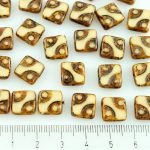 Square Window Table Cut Flat Dotted Czech Beads - Ivory Brown Rustic Picasso - 10mm