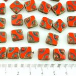Square Window Table Cut Flat Dotted Czech Beads - Red Brown Rustic Picasso - 10mm