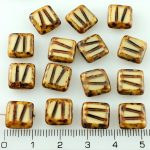 Square Window Table Cut Carved Flat Czech Beads - Picasso Ivory Brown Rustic - 10mm