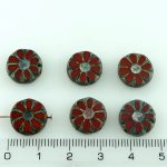 Flower Coin Table Cut Flat Czech Beads - Picasso Orange Brown - 12mm