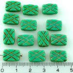 Rectangle Table Cut Window Czech Beads - Picasso Turquoise Green - 12mm