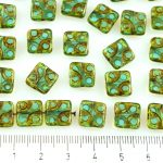 Square Window Table Cut Flat Dotted Czech Beads - Picasso Crystal Light Blue Aquamarine - 10mm