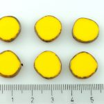 Coin Round Window Table Cut Flat Czech Beads - Yellow Picasso - 15mm