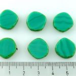 Coin Round Window Table Cut Flat Czech Beads - Turquoise Green Picasso - 15mm