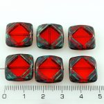 Square Flat Carved Window Table Cut Czech Beads - Crystal Ruby Red Picasso - 15mm