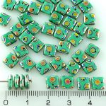 Square Paillettes Squarelet One Hole Chips Czech Beads - Turquoise Green Peacock Vitrail - 6mm