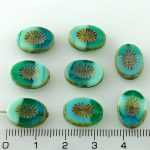 Oval Kiwi Window Table Cut Flat Czech Beads - Picasso Brown Turquoise Green Opal Blue - 14mm