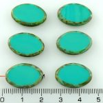Oval Window Table Cut Flat Large Czech Beads - Picasso Turquoise Green - 20mm