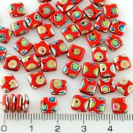 Square Paillettes Squarelet One Hole Chips Czech Beads - Opaque Red Dotted Peacock Vitrail - 6mm