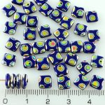 Square Paillettes Squarelet One Hole Chips Czech Beads - Opaque Dark Blue Peacock Vitrail - 6mm