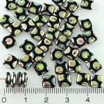 Square Paillettes Squarelet One Hole Chips Czech Beads - Opaque Jet Balck Peacock Vitrail - 6mm