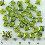 Square Paillettes Squarelet One Hole Chips Czech Beads - Crystal Green Dotted Peacock Vitrail - 6mm