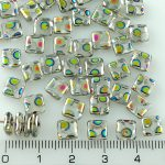 Square Paillettes Squarelet One Hole Chips Czech Beads - Crystal Clear Dotted Peacock Vitrail - 6mm