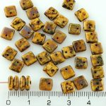Square Paillettes Squarelet One Hole Chips Czech Beads - Picasso Ivory Brown - 6mm