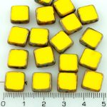 Square Flat Czech Beads - Picasso Lemon Yellow Table Cut Rustic - 10mm