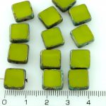 Square Flat Czech Beads - Picasso Brown Olive Green - 10mm
