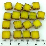 Square Flat Czech Beads - Picasso Brown Amber Yellow Opal - 10mm