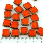 Square Flat Czech Beads - Picasso Brown Yellow Orange Amber Opal - 10mm