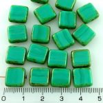 Square Flat Czech Beads - Picasso Brown Turquoise Green - 10mm