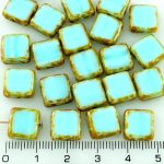 Square Flat Czech Beads - Picasso Brown Light Blue - 10mm