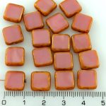 Square Flat Czech Beads - Picasso Brown Opaque Silk Pink - 10mm