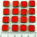 Square Flat Czech Beads - Picasso Brown Coral Red - 10mm
