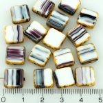 Square Flat Czech Beads - Picasso Brown White Purple Striped - 10mm