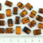 Rectangle Table Cut Flat Czech Beads - Picasso Blue Crystal Tortoise Striped Yellow - 12mm