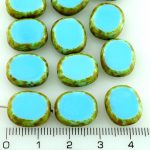 Flat Oval Window Table Cut Czech Beads - Picasso Opaque Turquoise Blue - 14mm
