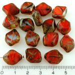 Rhombus Table Cut Window Czech Beads - Picasso Red Mix - 15mm