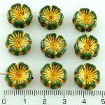 Flower Flat Czech Glass Beads - Picasso Green Gold Bronze Wash - 14mm