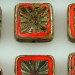 Rustic Window Table Cut Flat Flower Square Kiwi Czech Beads