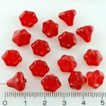 Bell Flower Caps Czech Beads - Opal Red - 9mm