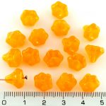 Bell Flower Caps Czech Beads - Crystal Opal Orange Yellow - 9mm