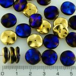 Czech Round Waved Disk One Hole Beads - Gold - 12mm