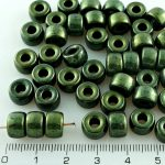 Czech Pony Large Hole Crow Ring Roller Beads - Metallic Green Luster - 9mm