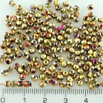 Round Faceted Fire Polished Czech Beads - California Purple Gold - 3mm