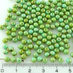 Round Czech Beads - Picasso Turquoise Blue Green - 4mm