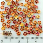 Forget-Me-Not Flower Czech Small Flat Beads - Crystal Marea Gold Half - 5mm
