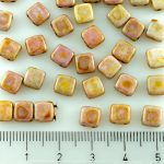 Two Hole Czech Beads - Picasso Pink Luster - 6mm