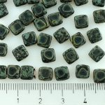 Two Hole Czech Beads - Picasso Matte Black - 6mm