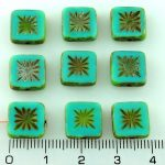 Flower Square Window Table Cut Flat Czech Beads - Picasso Brown Opaque Turquoise Green - 10mm