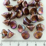 Bell Flower Lily Of The Valley Caps Czech Large Beads - Iris Vega Purple - 10mm