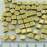 Square Silky Two Hole Flat Czech Beads - Crystal Gold - 6mm
